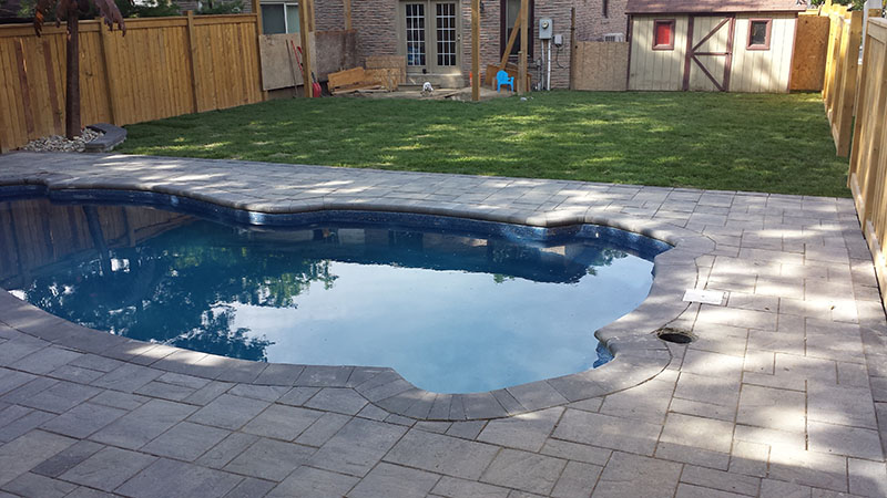 Backyard Landscaping Ideas With Interlocking Pool Deck